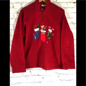 Ugly Christmas sweater 1/4 zip Women's size XL red